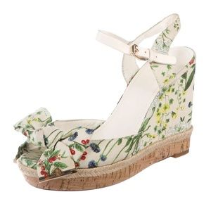 TORY BURCH Floral Print Penny Sandal Wedges